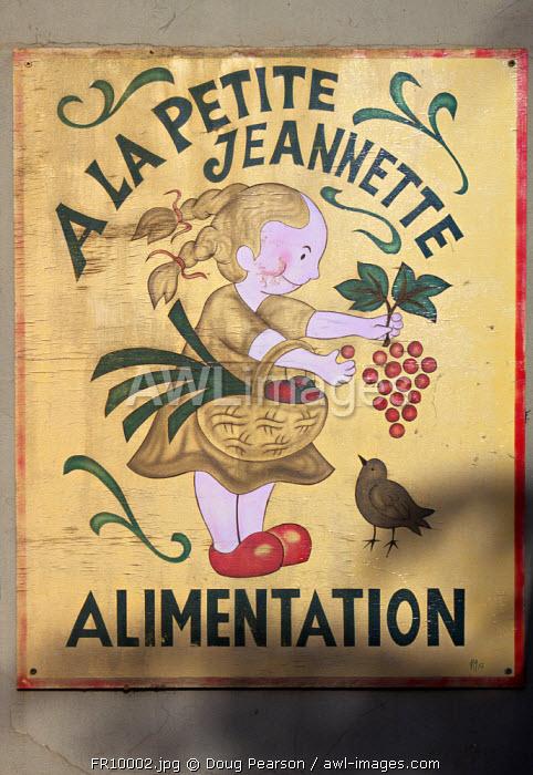 Shop Sign, Cote du Rhone, Drome, Rhone-Alpes, France