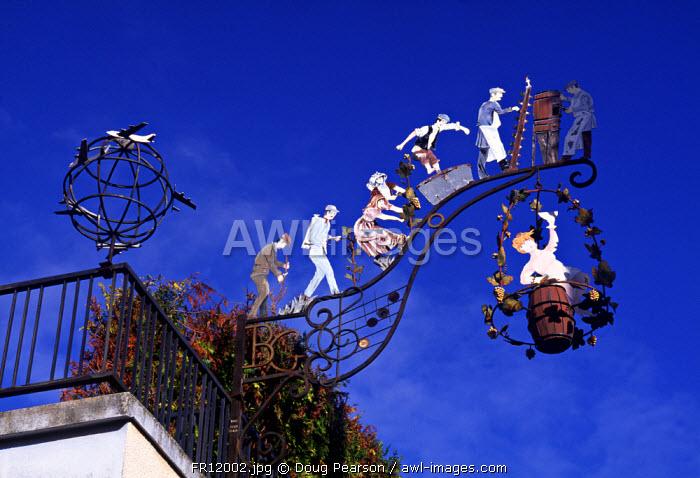 Vineyard sign, Champagne, France