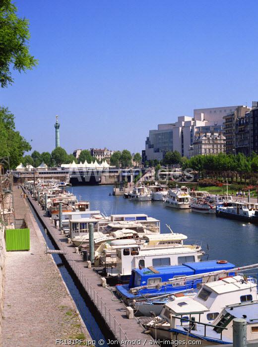 Bastille Opera and Port de Plaisance, Canal St, Martin, Paris, France