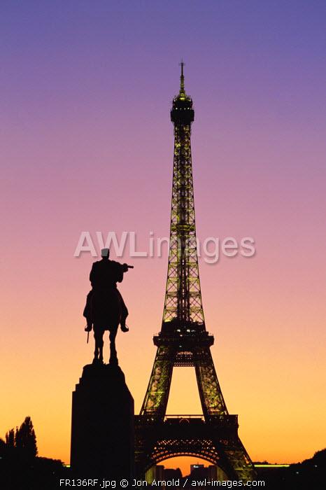 Eiffel Tower (Tour Eiffel) from Ecole Militaire, Paris, France