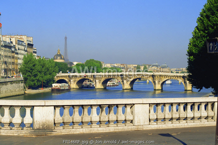 Eiffel Tower and Pont Neuf over River Seine, Paris, France