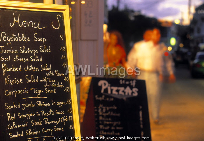 Restaurant Menu, Grand Case, St. Martin, French West Indes