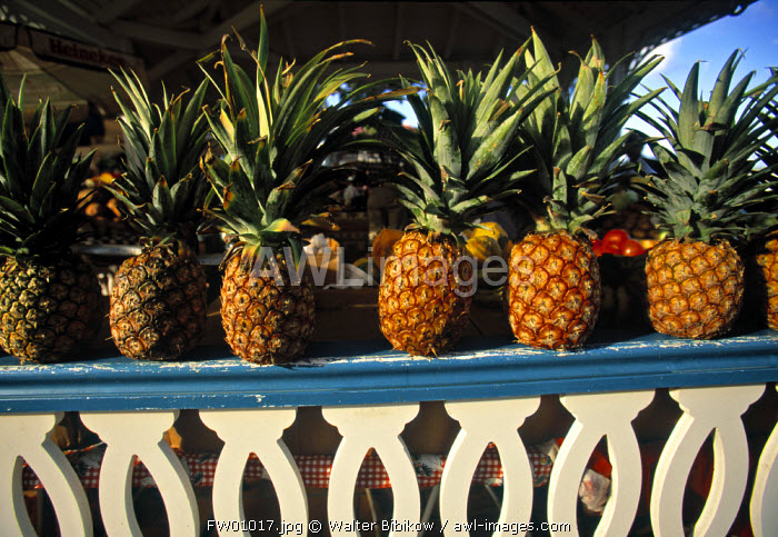 Pineapples at a market, St. Martin, French West Indes
