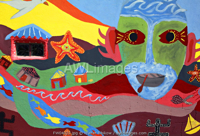 Native art mural, Basse Terre, Guadeloupe, French West Indies