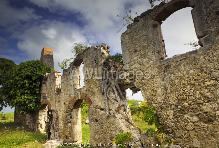 Old sugar plantation, Galante Island, Guadeloupe, French West Indies