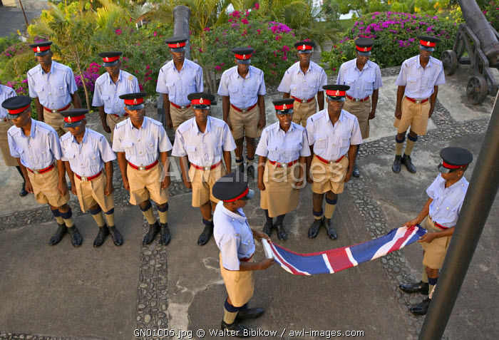 Lowering the Flag ceremony, Fort George, St. George's, Grenada, Caribbean
