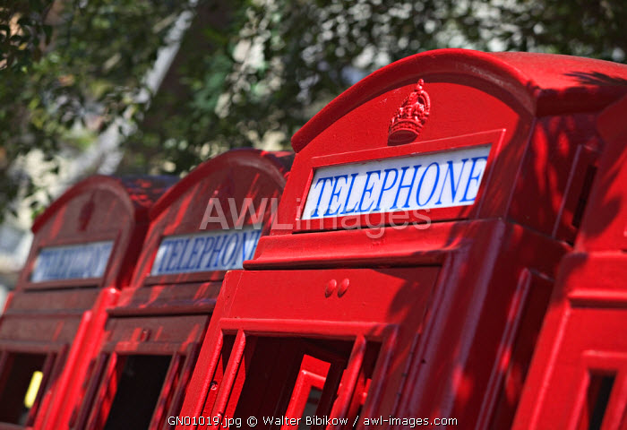 Red telephone booths, St. George's, Grenada, Caribbean