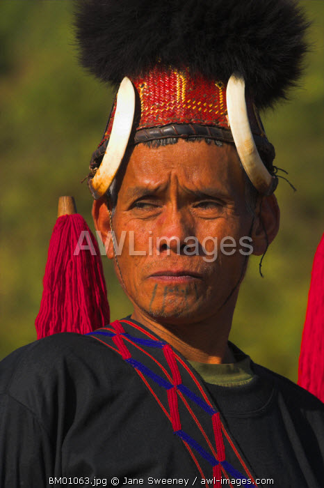 awl-images.com - Myanmar / Myanmar (Burma), Sagaing Region, Lahe village, Naga New Year Festival, Naga man wearing headdress