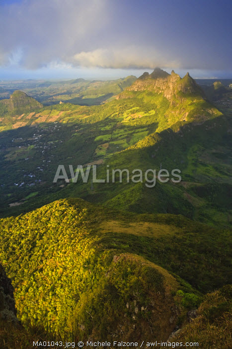awl-images.com - Mauritius / East Mauritius and Pieter Both Mountain, view from Le Pouce Peak, Mauritius, Indian Ocean