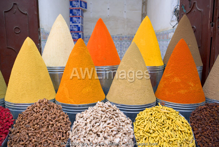 awl-images.com - Morocco / Spices in market, Mellah district, Marrakesh, Morocco