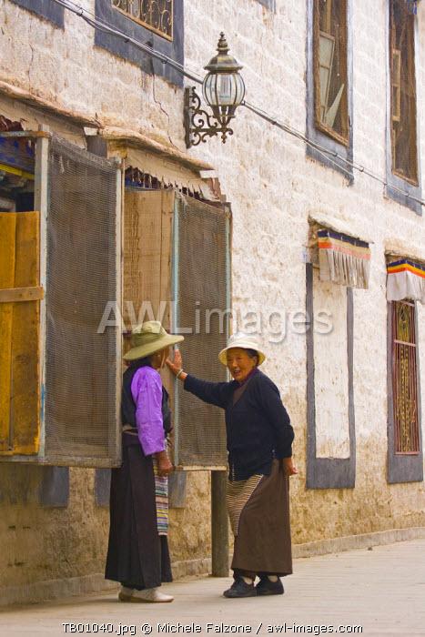 Women in old Lhasa, Lhasa, Tibet