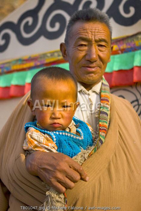 Tibetan family living on the shore of Nam Tso Lake, Central Tibet