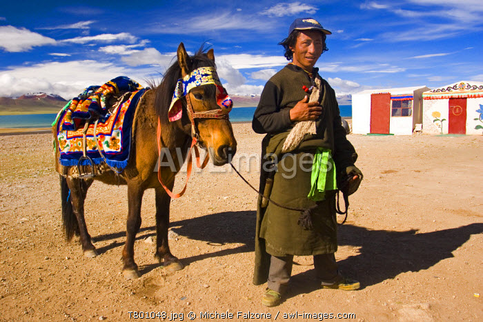 Young man and horse on Nam Tso Lake, Central Tibet