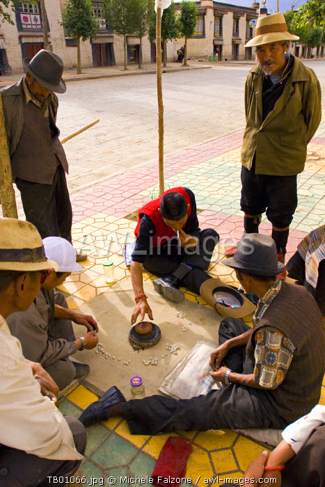 Tibetans playing traditional game, Gyantse, Tibet