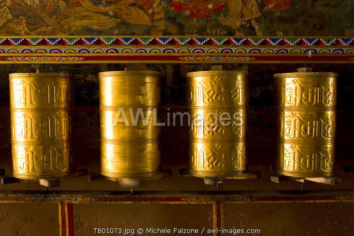 Prayer Wheels inside Sakya Monastery, Tibet