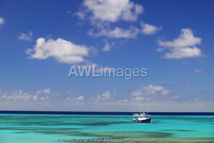Turks & Caicos, Grand Turk Island, Cockburn Town, Turquoise Water & Dive Boat