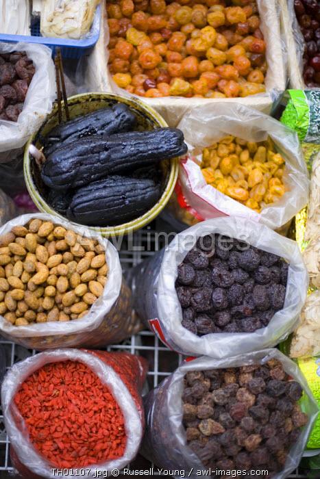 Dried fruit in market,  Bangkok Thailand