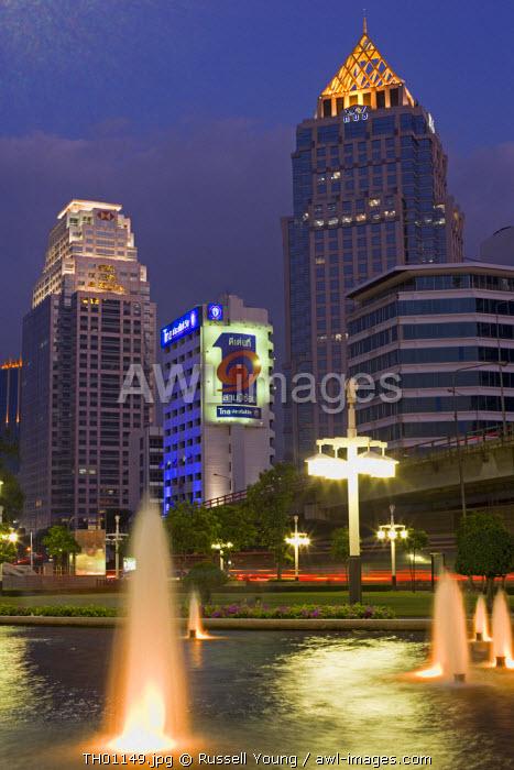 Office buidings from Lumpini Park, Bangkok Thailand