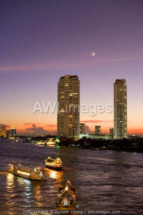 Chao Phraya River at night Bangkok Thailand