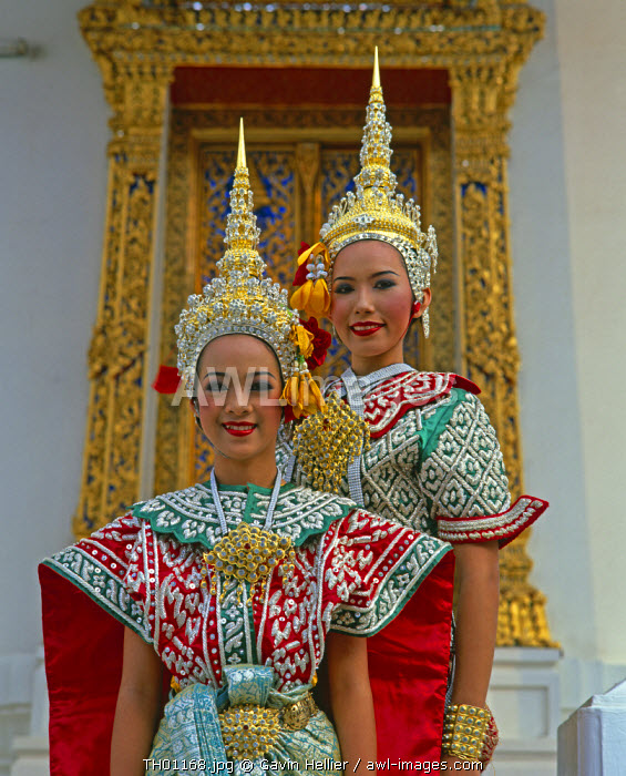 Portrait of two dancers in traditional Thai classical costume, Bangkok, Thailand
