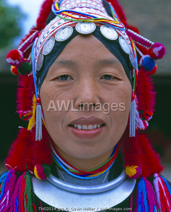 Portrait of Akha hill tribe woman in traditional dress, Chiang Mai, Thailand