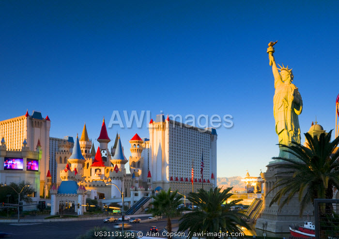 USA, Nevada, Las Vegas, New York New York and Excalibur Hotel and Casino