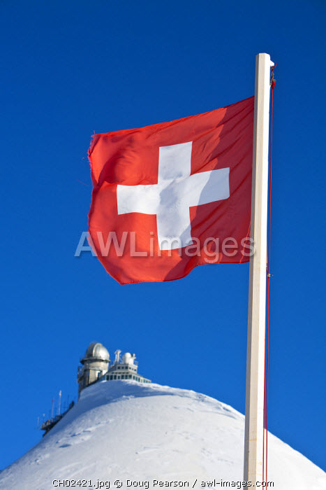 Swiss Flag & Sphinx Observatory, Jungfraujoch, Top of Europe, Grindelwald, Bernese Oberland, Switzerland