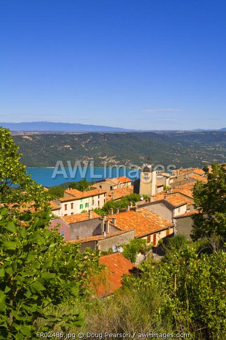 Clock Tower & Lac de Ste-Croix, Aiguines, Gorges du Verdon, Provence-Alpes-Cote d'Azur, France