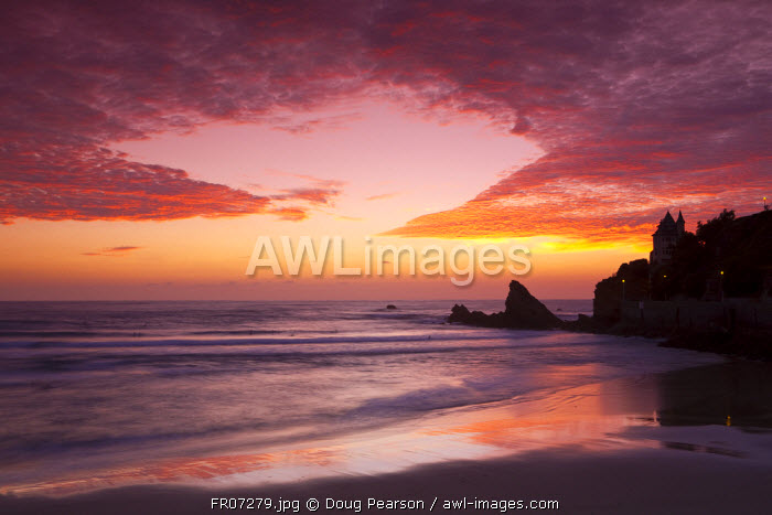 Sunset over Surfers, Biarritz, Pyrenees Atlantiques, Aquitaine, France