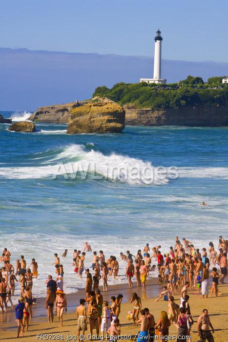 Bathers, Grande Plage, Biarritz, Pyrenees Atlantiques, Aquitaine, France