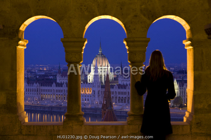 Hungarian Parliament seen from Fishermans Bastion, Budapest, Hungary, MR