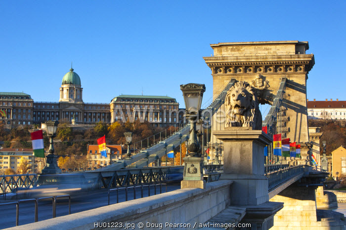 Chain Bridge & Royal Palace on Castle Hill, Budapest, Hungary