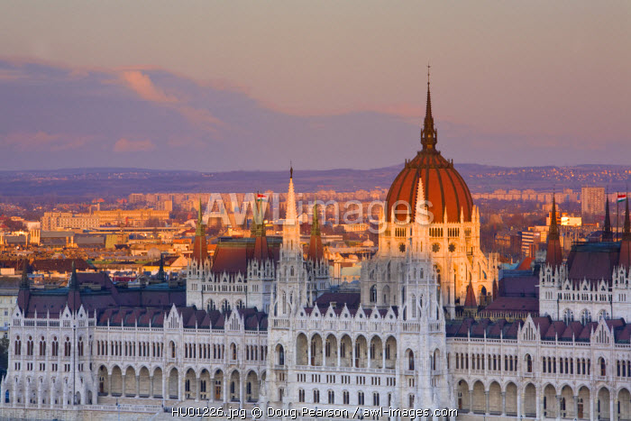 Hungarian Parliament seen from Fishermans Bastion, Budapest, Hungary
