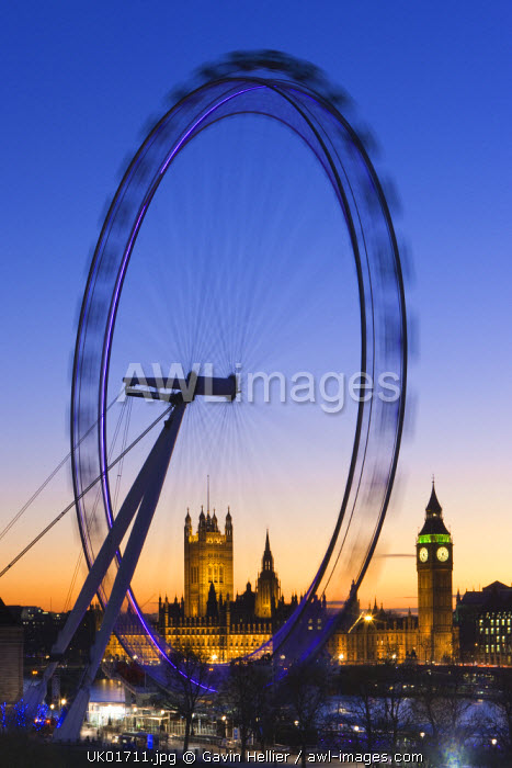Millennium Wheel (London Eye) and Big Ben, Houses of Parliament, London, England, UK