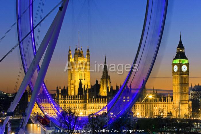 Millennium Wheel (London Eye) and Big Ben, Houses of Parliament, London, England, UK