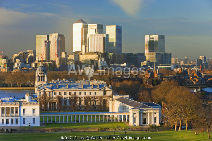 View from the Royal Observatory across Greenwich Park towards the Royal Naval College & Canary Wharf, London, England, UK