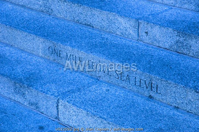 USA, Colorado, Denver, Mile above sea level marker