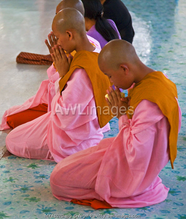 Myanmar, Burma, Yangon. Young Buddhist nuns pray at the site of the reclining Buddha in Yangon.