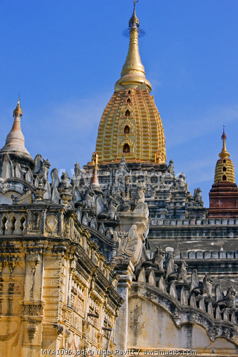 Myanmar. Burma. Bagan. The Ananda Temple at Bagan.  Built in 1091, this temple is considered to be the masterpiece of Mon architecture.