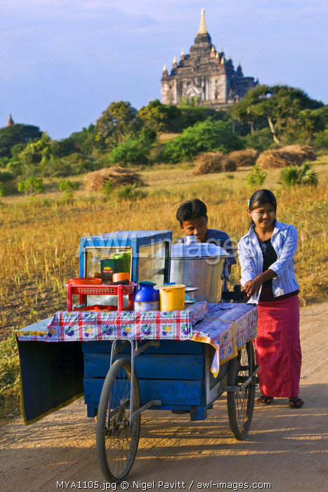 awl-images.com - Myanmar / Myanmar. Burma. Bagan. Food vendors near the ancient Shwesadaw stupa on the central plain of Bagan. The Bagan dynasty built 2,229 temples between 1044 and 1287.