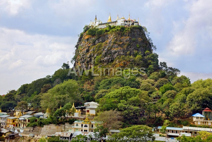 Myanmar. Burma. Popa. The ancient Buddhist monastery on top of Mount Popa, a 1,500 metres high core of an ancient volcano rising 737 metres above the surrounding plain.