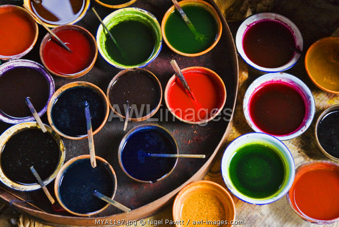 Myanmar, Burma, Lake Inle. A selection of dyes used in the production of local silk at Lake Inle.