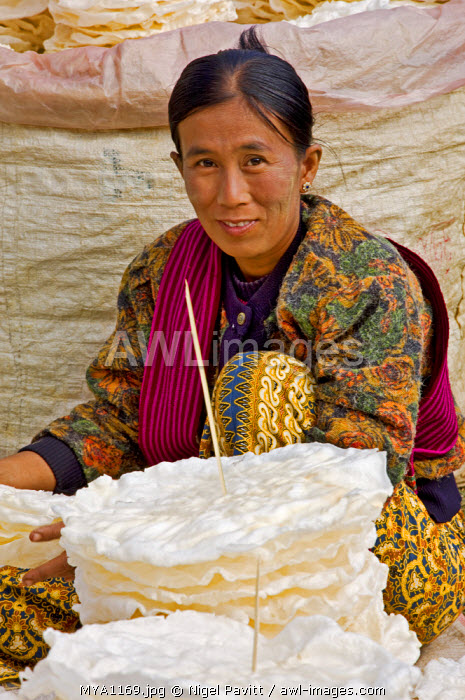 awl-images.com - Myanmar / Myanmar, Burma, Lake Inle. A woman selling wafer-thin rice crackers at the popular Phaung Daw Oo market where all kinds of farm produce are sold.