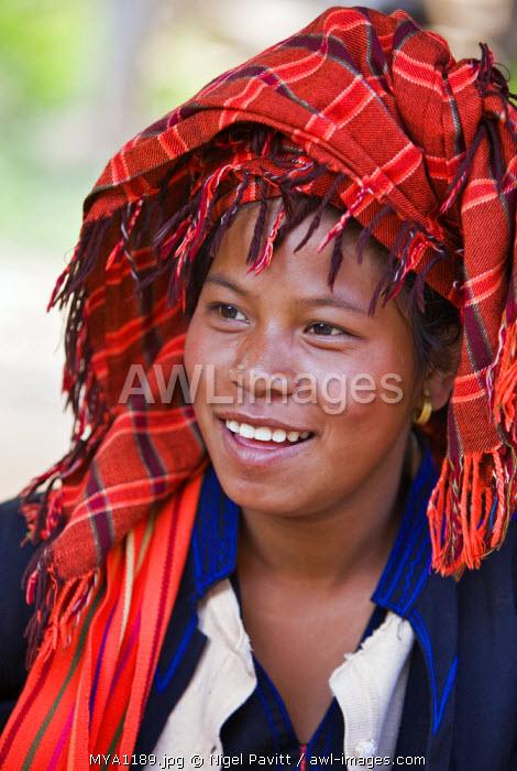 Myanmar, Burma, Lake Inle. A pretty, young Pa-O woman at Indein market.