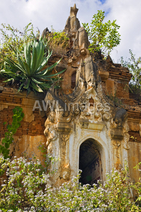 Myanmar, Burma, Lake Inle. An old Buddhist shrine at the unrestored Shwe Inn Tain pagoda and monastery complex which was built in the ancient Shan style.