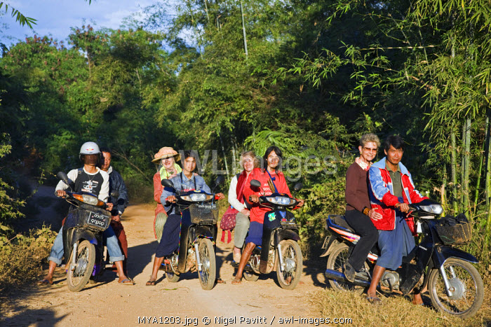 Myanmar, Burma, Lake Inle. A group of tourists ride pillion on rough tracks to visit the Pa-O village of Kya-Toon in the hills beyond Indein.