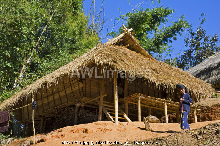 Myanmar, Burma, Wan doi. A traditional wood and bamboo house at Wan doi.  All Ann houses are raised off the ground, often due to the slope on which they are built.