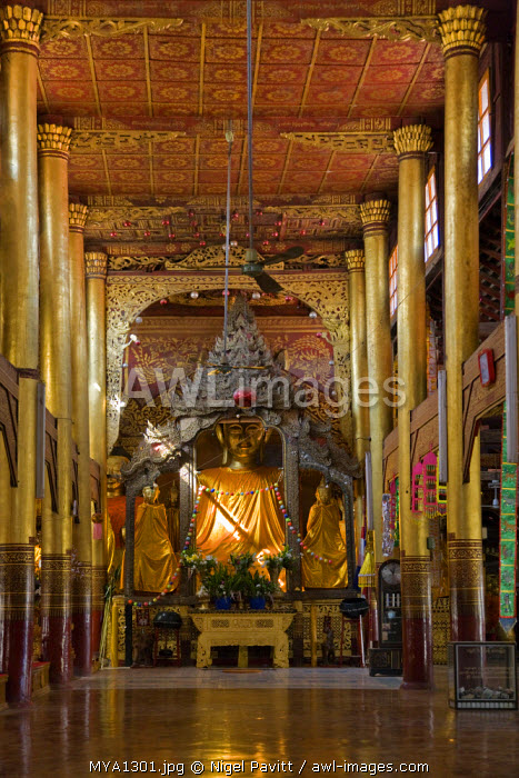 Myanmar, Burma, Kengtung. The beautiful temple of the Wat In monastery at Kengtung.