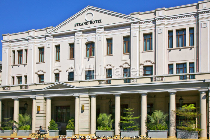 Myanmar, Burma, Yangon. The Grand Hotel displays its colonial heritage.  Built in 1896 by the owners of Raffles Hotel in Singapore, it became the smartest and most expensive hotel in the city.