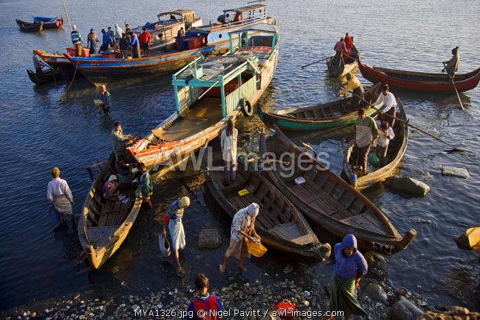Myanmar, Burma, Rakhine State. Fishing boats anchored at Sittwe's busy port.